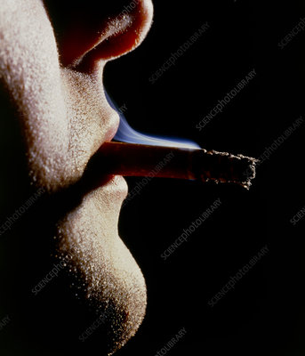 Close-up of a man smoking
