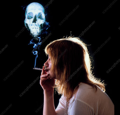 Composite of woman smoking, skull formed by smoke