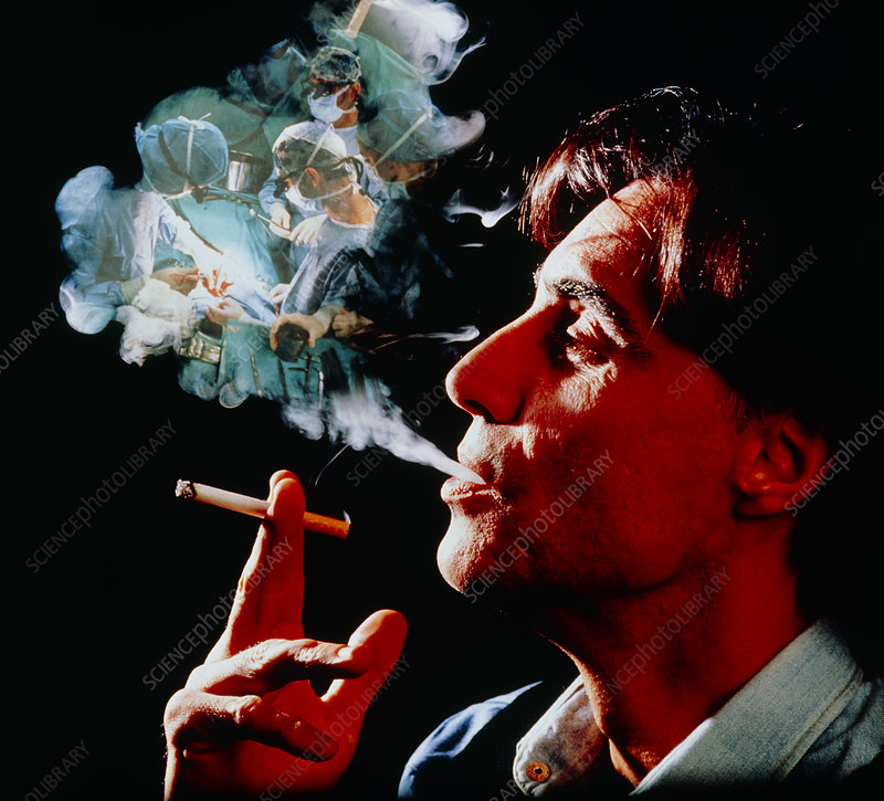 Man smoking, with lung surgery hazard superimposed