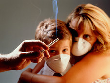 Abstract of passive smoking by a mother and child