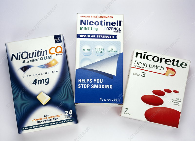 Nicotine gum, patches and lozenges