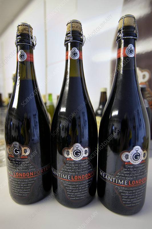 Bottled beer produced at a microbrewery