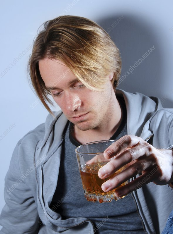 Alcoholic man drinking