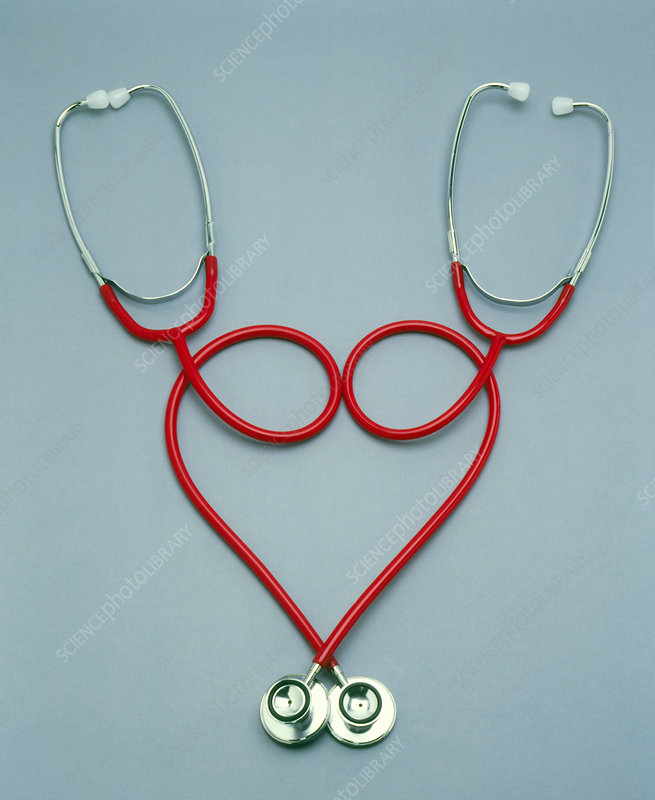 Two stethoscopes in the shape of a heart