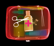 Coloured X-ray of a first aid kit