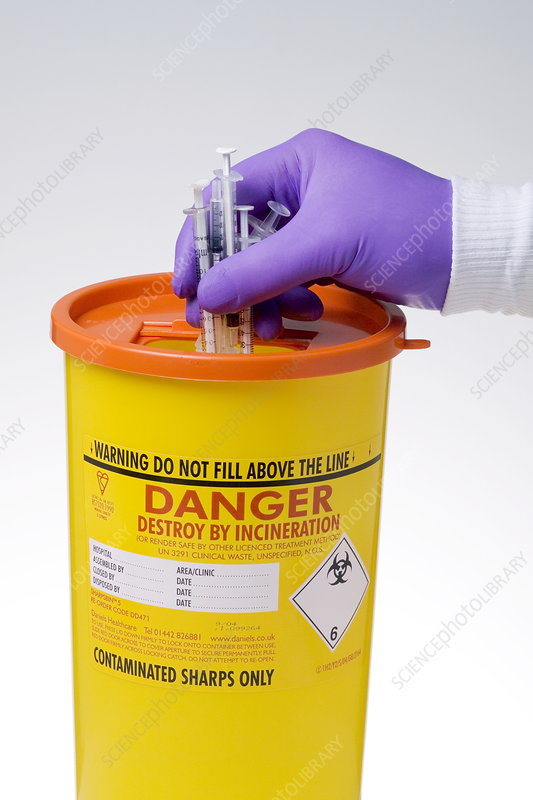 Disposal of contaminated sharps