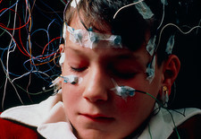 Boy having EEG examination