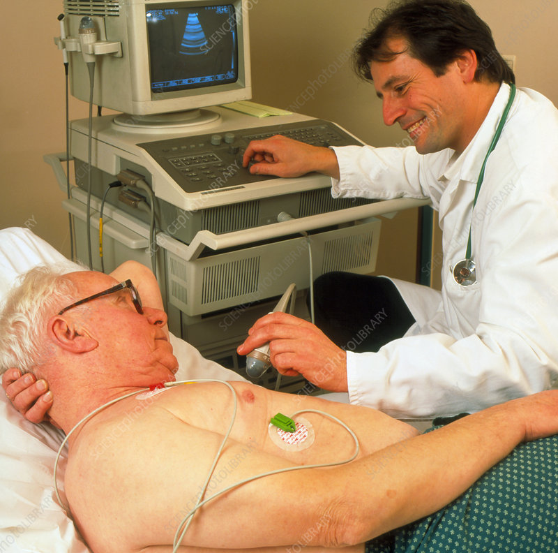 Man undergoing echocardiography of heart