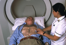Patient preparing for an EBT scan