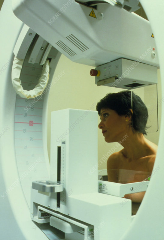 Mammography: woman undergoing breast screening