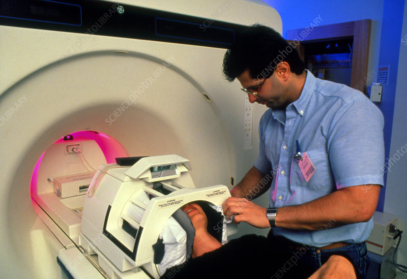 Patient about to enter high-speed MRI scanner