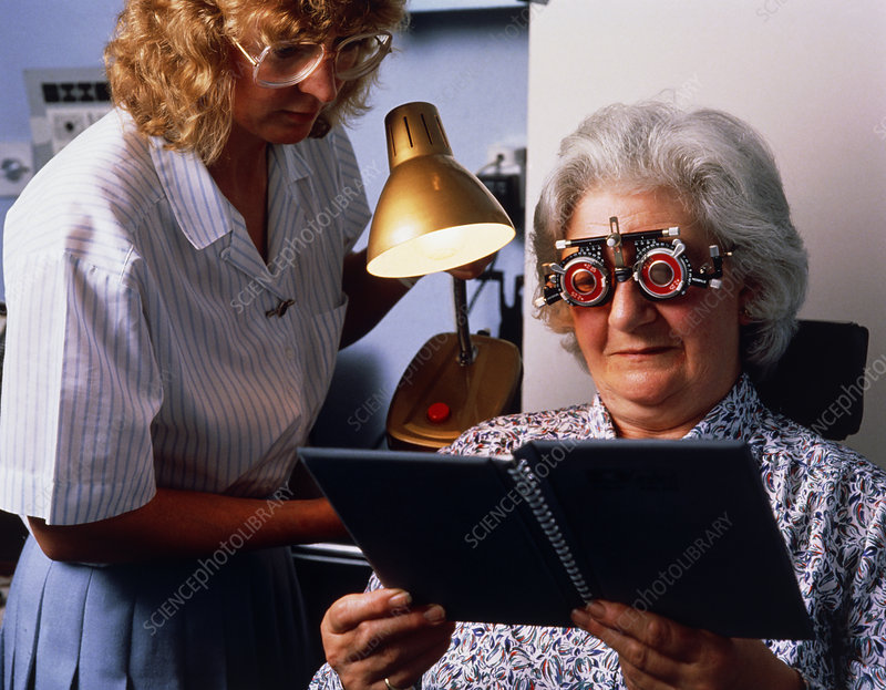 Middle-aged woman wearing spectacle test frames
