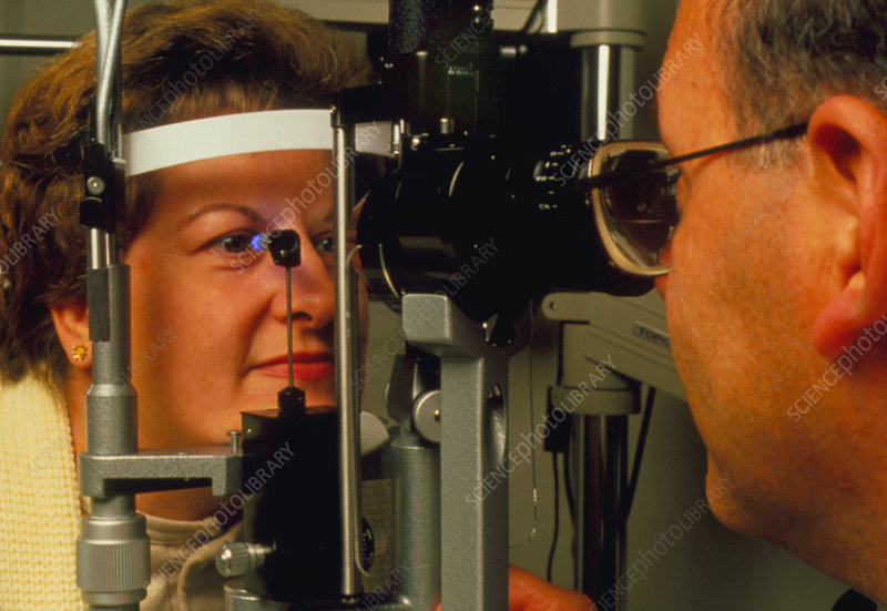Ophthalmoscope examination of a woman's eyes