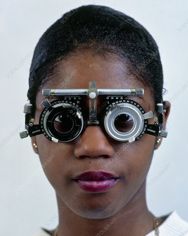 Ophthalmology test frames on a teenage girl