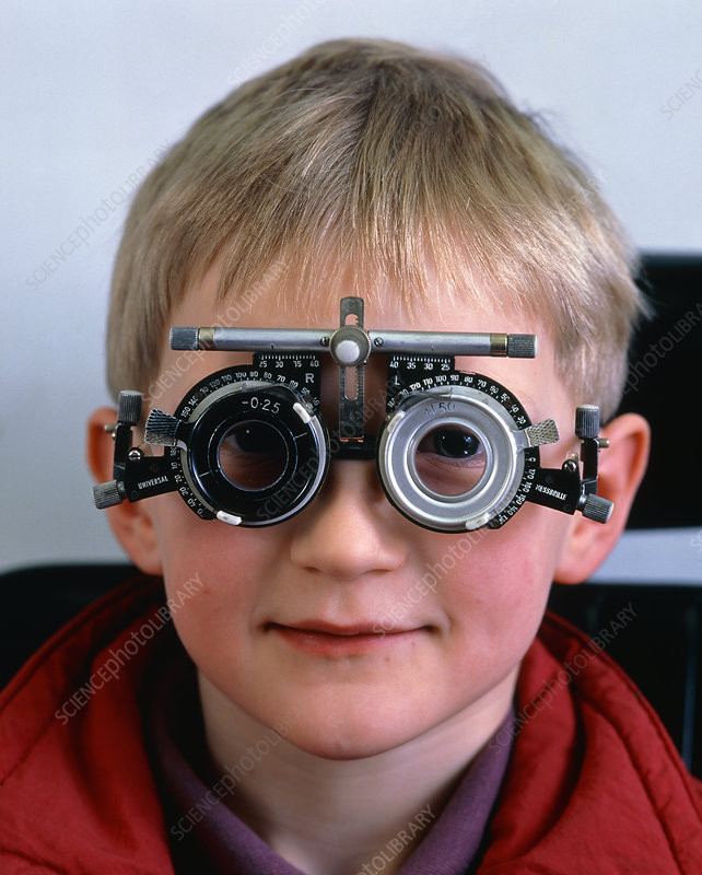 Ophthalmology test frames on a young boy