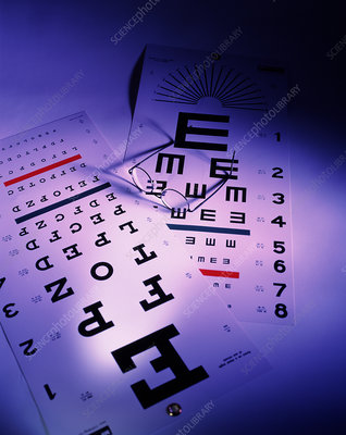 View of a pair of spectacles and eye test charts