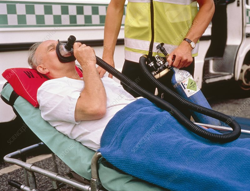 Patient using the analgesic gas Entonox