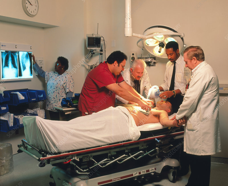 Mock-up of emergency treatment on a heart patient