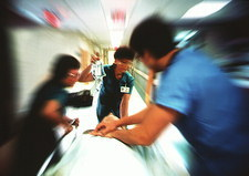 Patient being rushed for emergency treatment
