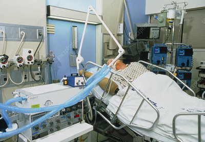Elderly man on life-support in intensive care