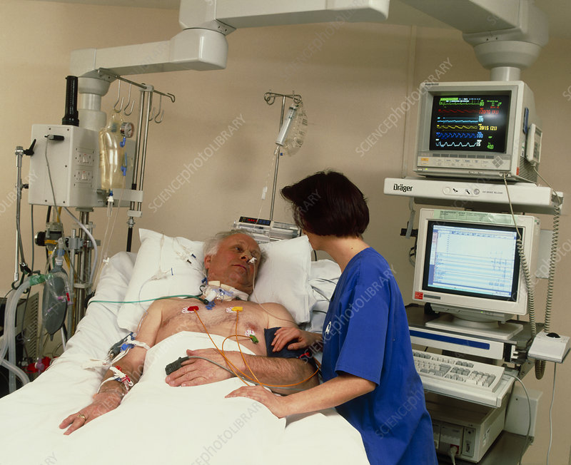 Intensive care monitoring of an elderly man