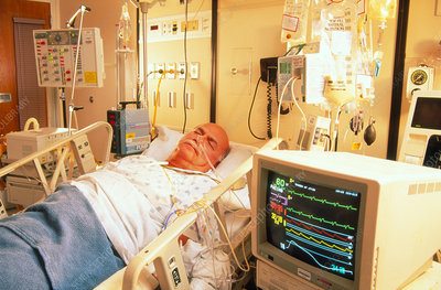 Male cardiac patient in intensive care unit