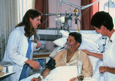 Patient in an intensive care ward