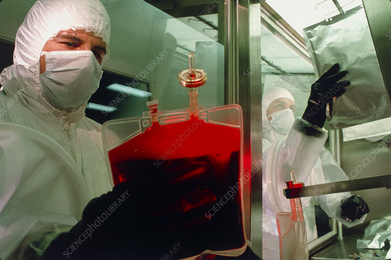 Technician makes artificial haemoglobin from blood