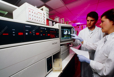 Flow cytometer being used for blood cell analysis