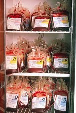 Blood bank: refrigerator containing blood