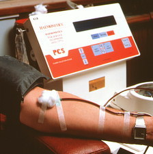 Blood donor at London transfusion centre