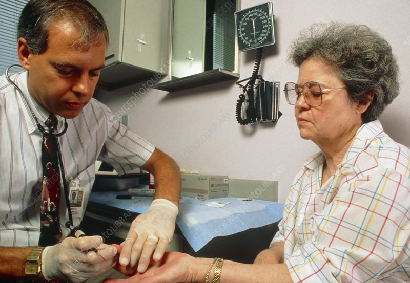 Cholesterol test: taking blood from patient