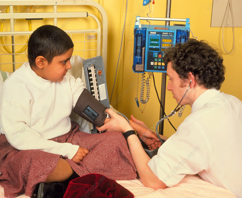 Blood pressure monitored in girl with leukaemia