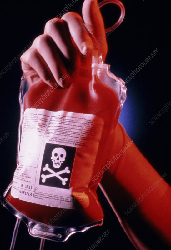 Contaminated blood bag with skull & crossbones