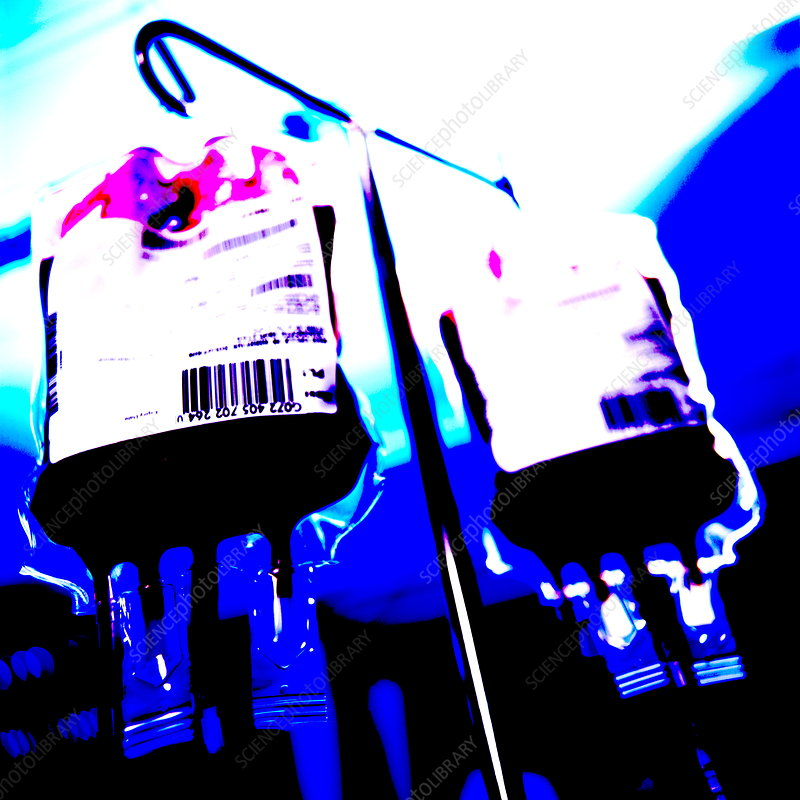 Blood bags on drip stand
