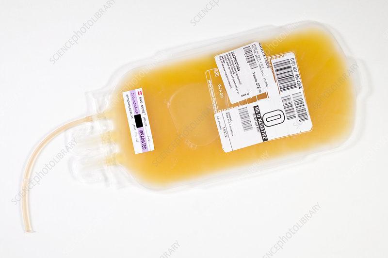 Bag of pooled blood platelets