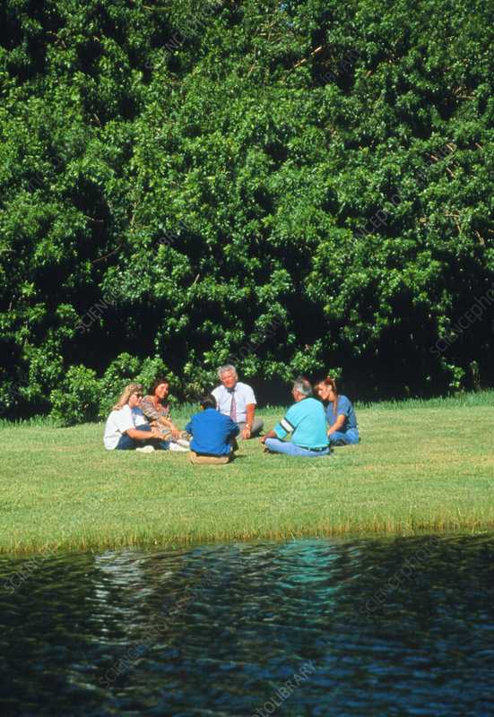 Group therapy session held on the bank of a river