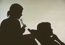 Silhouette of a woman receiving counselling
