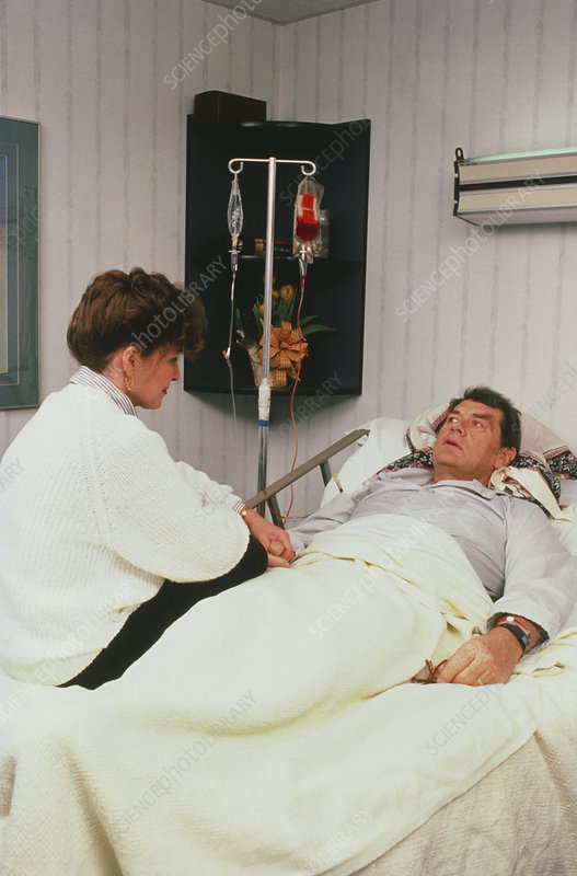 Cancer patient receiving blood product transfusion