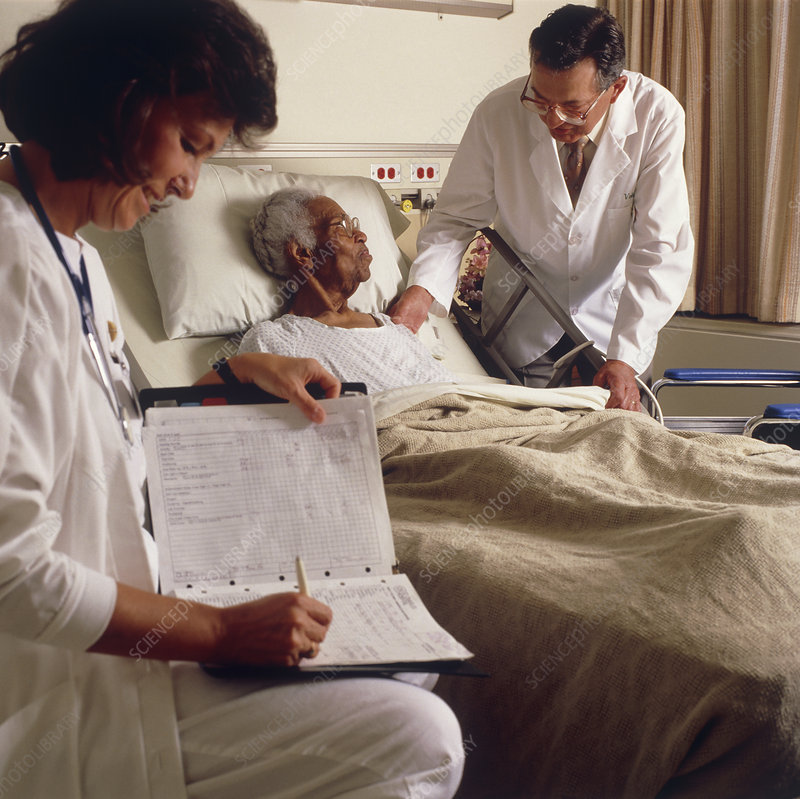 Nurse and doctor with elderly patient.