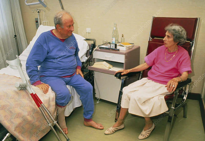 Geriatric ward: elderly man gets hospital visit