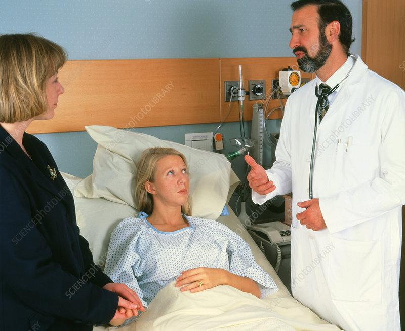 Doctor patient relative in hospital room