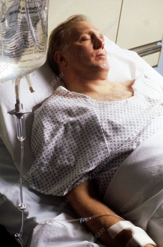 Patient receiving intravenous infusion in hospital