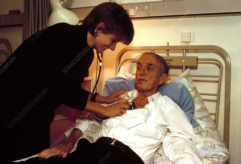 Hospice doctor and patient