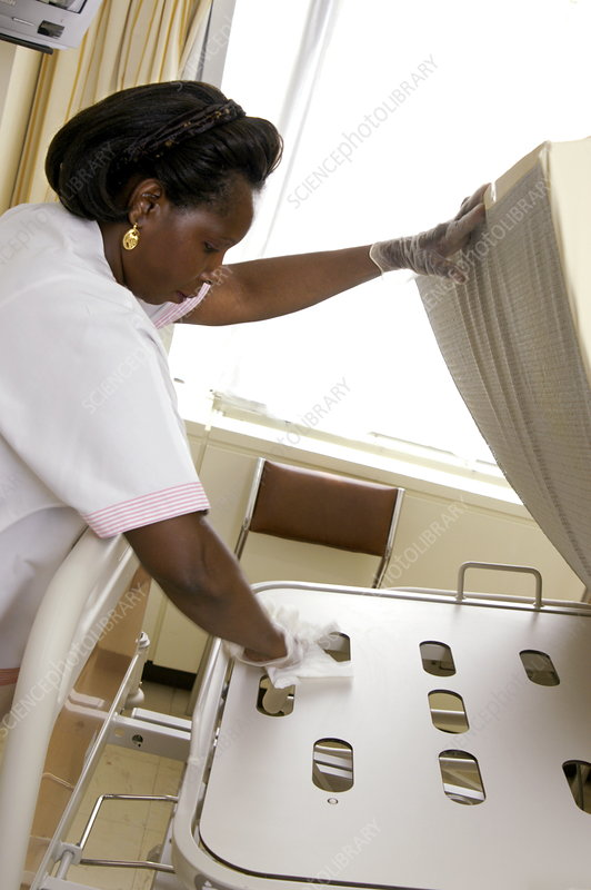 Cleaning hospital bed