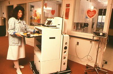 Helpmate robot carrying hospital meals