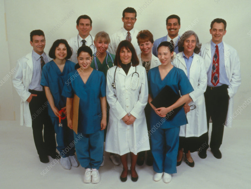 Group portrait of hospital staff.