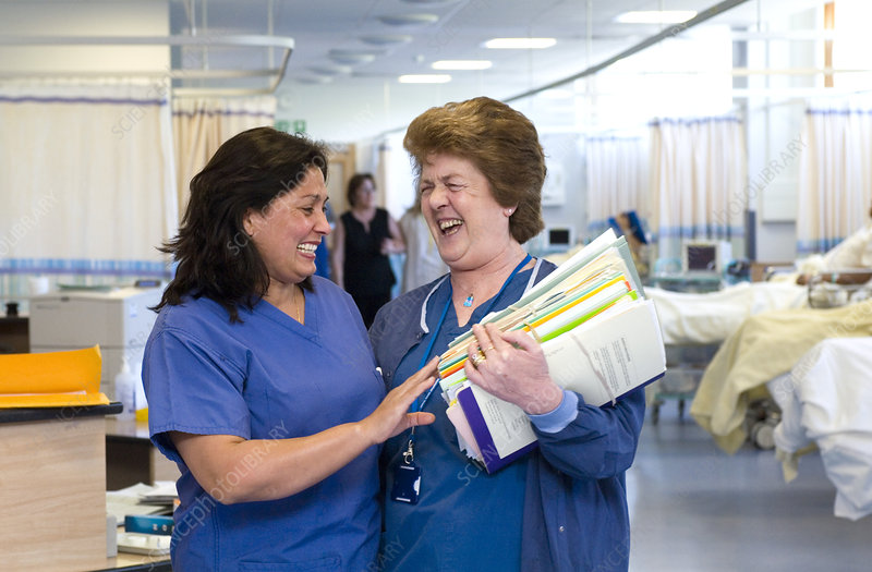 Nurses laughing together