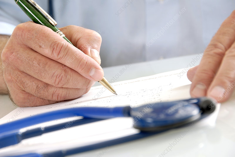 Doctor writing
