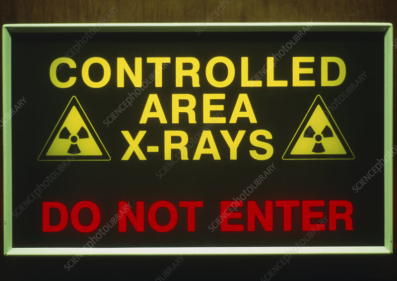 View of an X-ray warning sign in a hospital